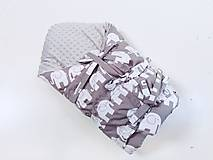Textil - Zavinovačka s troma úväzmi sivé sloníky + sivá minky - 13058752_