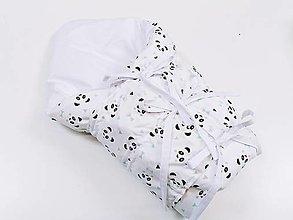 Textil - Zavinovačka s troma úväzmi pandy s mentolovými trojuholníčkami - 13058744_