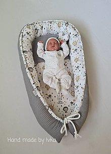 Textil - XL hniezdo pre bábätko - sivá vafle /100% bavlna - 13059221_