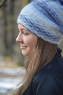 Čiapky - čepice modrobílý melír - 13058147_