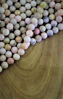 Minerály - opál korálky 10mm - andský ružový opál - 13061618_