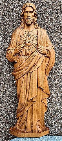 Dekorácie - Drevorezba Srdce Ježišovo - 13061097_