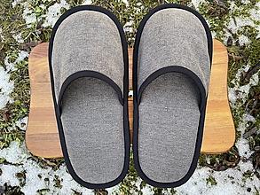 Obuv - Veľké šedé papuče - 13058286_