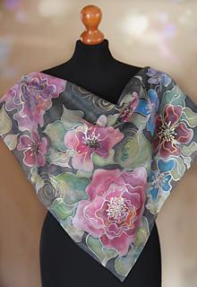 Šatky - Antracitová s farebnými kvetmi + GRÁTIS darčekové balenie... - 13061110_