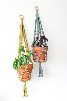 Dekorácie - Makramé držiak na kvetináč // set Kiwi & Oliander (Set) - 13058967_