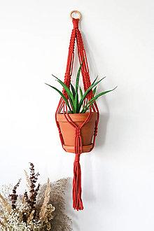 Dekorácie - Makramé držiak na kvetináč // Jarabina - 13059041_