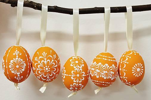 Dekorácie - KRASLICE /slepačie maľované vajíčka/ - orange - 13062206_