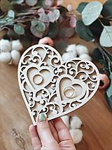 Prstene - Tanierik na obrúčky srdiečko ornament prírodný (12x12 cm) - 13063399_