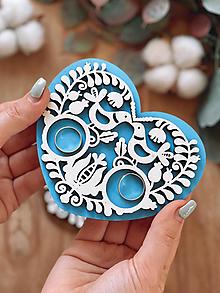 Prstene - Tanierik na obrúčky srdiečko folk farebný - 13062772_