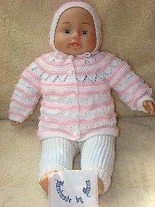 Detské súpravy - Ručne pletená novorodenecká súprava  bielo-ružová - 13064983_