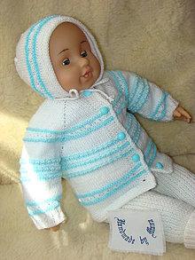 Detské čiapky - Ručne pletený čepček v bielo - modrom - 13065219_