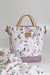 "Kabelky - Veľká kvetinová kabelka zo 100% ľanu ""Garden of Roses"" - 13064547_"