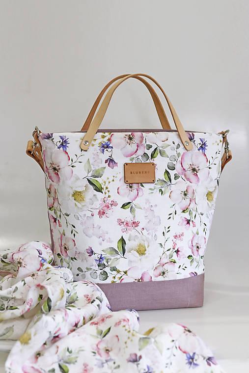 "Veľká kvetinová kabelka zo 100% ľanu ""Garden of Roses"""