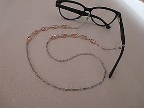 Iné šperky - Retiazka na okuliare - sklenené kocky - broskyňové - chirurgická oceľ - 13064300_