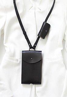 Na mobil - Kožené púzdro PHONE & AIRPODS POUCH BLACK - 13064475_