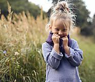 Detské doplnky - Lněný šátek švestkový - 13065580_