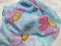 Šatky - Hodvábna šatka - ružové kvety - 13063329_