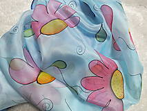 Šatky - Hodvábna šatka - ružové kvety - 13063342_