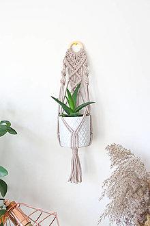 Dekorácie - Makramé držiak na kvetináč // Ľan (šedý) - 13063378_