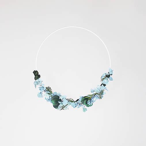 Dekorácie - Minimalistický prírodný veniec modro-zelená - 13065851_