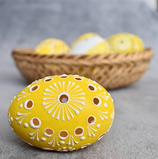 Dekorácie - Slepačia kraslica madeirová žltá, oranžová - 13062637_