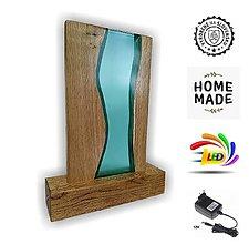 Svietidlá a sviečky - Stolná lampa vyrobená z dreva a epoxidu 11 - 13064089_