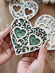 Prstene - Tanierik na obrúčky srdiečko ornament farebný - 13067909_
