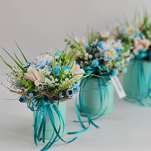 Dekorácie - Modrý flowerbox MALÝ - 13070035_