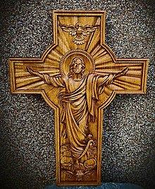 Dekorácie - Drevorezba Kríž Jesus  (300 x 180 x 30) - 13068478_