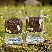 Nádoby - Svadobné poháre - krígle - drevené, s margarétkami - 13069645_