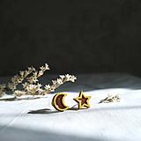 Drevené maľované náušnice Hviezda & Mesiac
