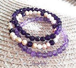 Náramky - Ametyst a riečne perly - náramok - 13068993_