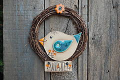 Dekorácie - Vtáčik vo venčeku č. 11 - stredný - 13069457_