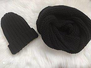 Šály - Čierny pletený set - 13070955_