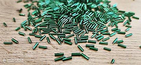 Korálky - Sklenené trubičky Emerald - balíček 600 kusov (Zelená) - 13071537_