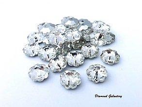 Galantéria - Našívacia aplikácia kvietok sklenený - 10 mm - Crystal (Strieborná) - 13071601_