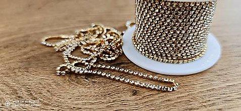 Komponenty - Štrasová borta - Crystal - cena za 10 cm (Zlatá) - 13071651_