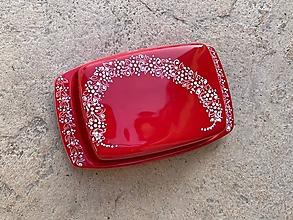 Nádoby - Červená hranatá maľovaná maselnička - 13073472_
