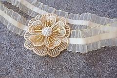 Bielizeň/Plavky - marhuľový svadobný podväzok + zlatá - 13072689_