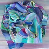 Šály - Polárna žiara-hodvábny maľovaný šál - 13074549_