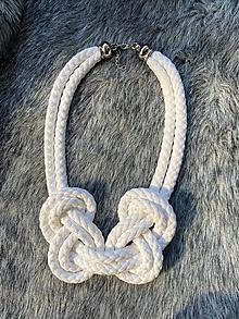 Náhrdelníky - Bílé uzly - 13075172_