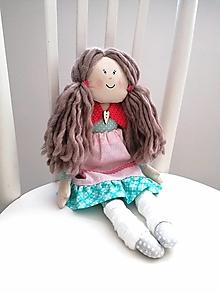 Hračky - Zuzka, bábika v ružovo-tyrkys šatách - 13075174_