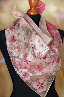 Šatky - Hodvábny čerešňový kvet + GRÁTIS darčekové balenie... - 13074953_