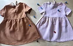 Detské oblečenie - Šťastná - dievčenské ľanové šaty - 13075370_