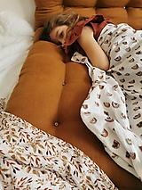 Detské doplnky - Mušelínka 120x120 cm - mušelínová plienka s prírodným motívom (hnedé dúhy) - 13074858_