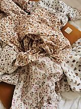Detské doplnky - Mušelínka 120x120 cm - mušelínová plienka s prírodným motívom (hnedé dúhy) - 13074860_