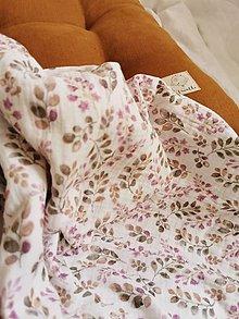 Detské doplnky - Mušelínka 120x120 cm - mušelínová plienka s prírodným motívom (ružovkasté listy) - 13074812_