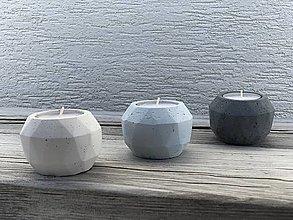 Svietidlá a sviečky - Betónový svietnik GeoFlame trio - oblak - 13074623_