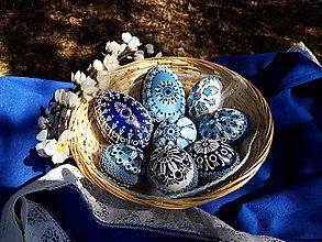 Dekorácie - Sada modrých kraslíc B - 13074624_
