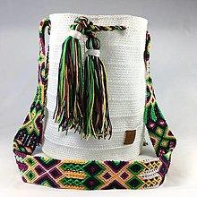 Kabelky - WAYALA bag (wayuu bag style)- biela/zelená - 13075322_